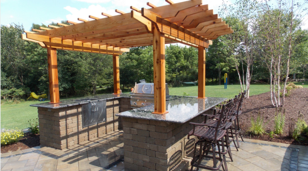 pergola, outdoor kitchen, landscaping in goshen and bethel, ny