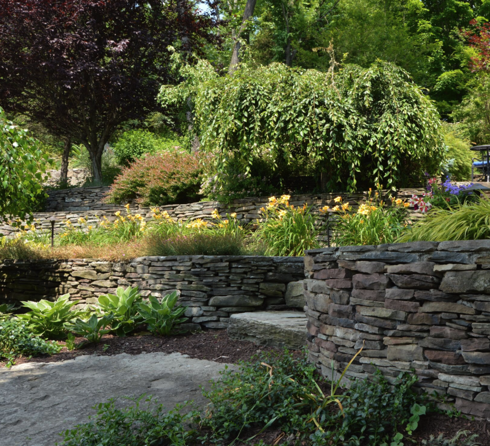 Landscaping ideas for retaining wall in Pine Island NY