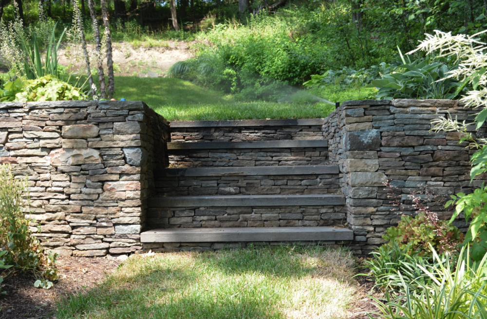 Landscape design with retaining wall in Goshen NY