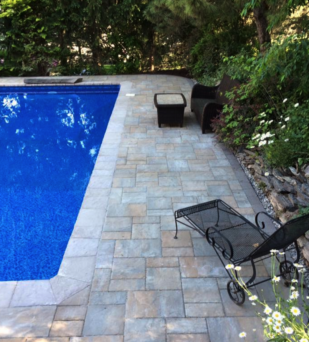 New patio with swimming pool in Pine Island NY