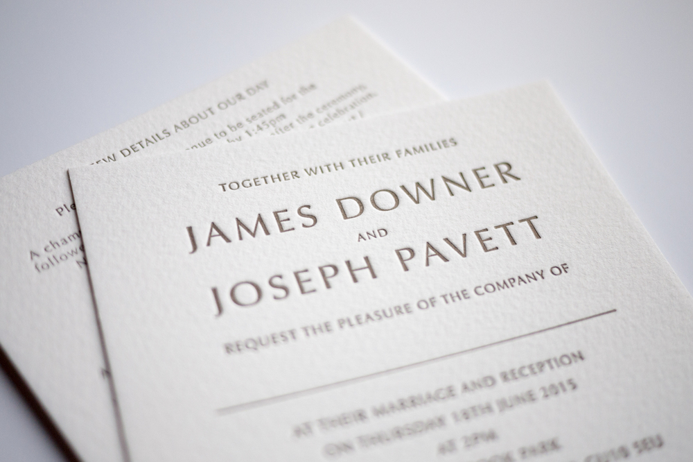 tres chic square letterpress wedding invitations