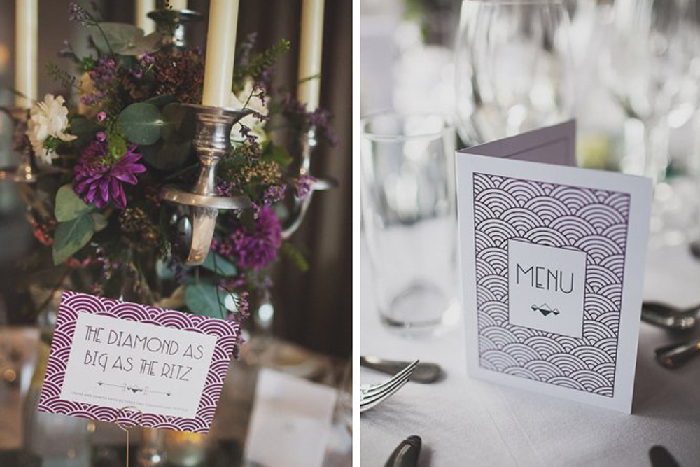 art deco table name cards and menu