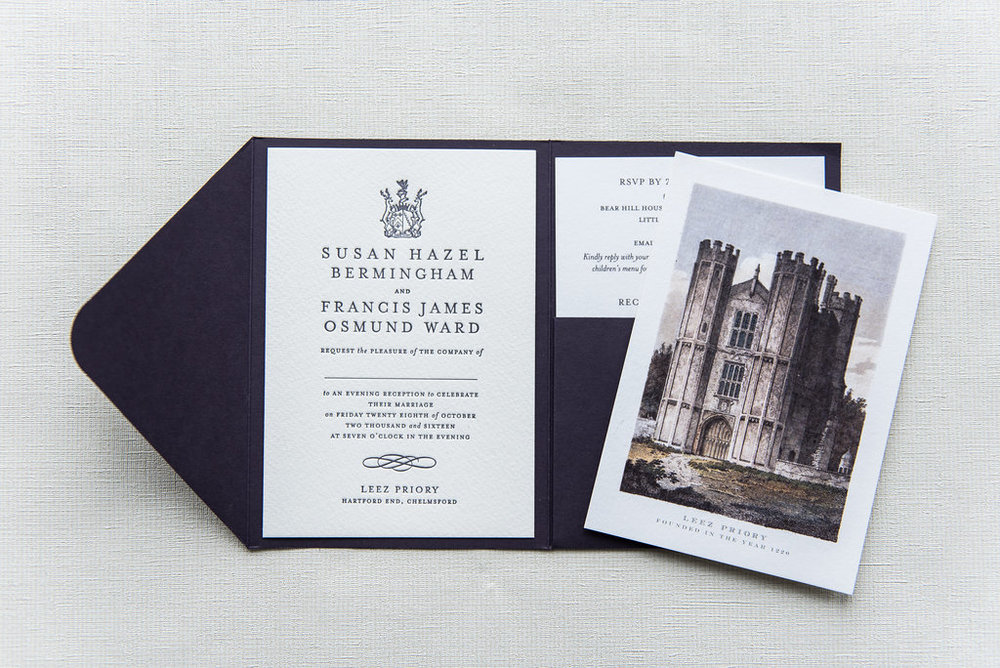 leez priory wedding invitation