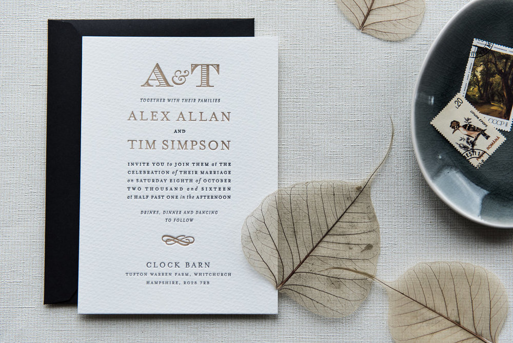 Haworth letterpress design with bespoke monogram and custom black envelopes