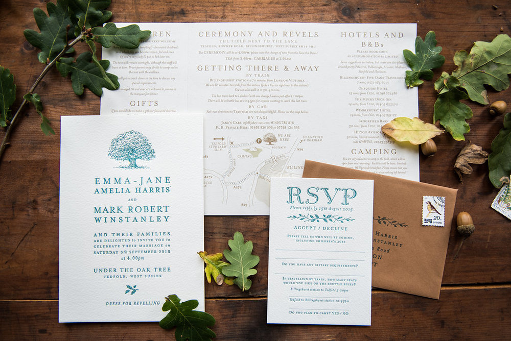 Folk festival wedding invitation