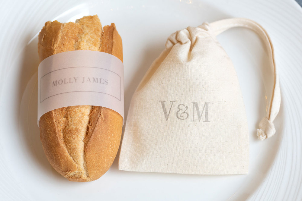 Vellum wrap and cotton favour bags