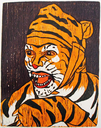 Color Reduction Woodcut by Vijay Pichumani    - Tiger Dance    - 2009 - Chennai, India