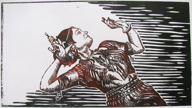 Color Woodcut from Single Block by Ashok Pachaiyappan -  The Step of Abinaya  - 2007 - Chennai, India