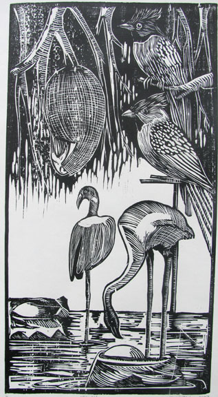 Woodcut by Ambeth Periasamy -  Birds  - 2007 - Chennai, India