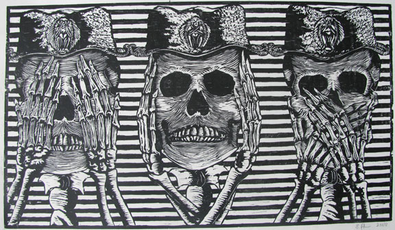 Woodcut by Prabu Sivalingam -  See no evil, Speak no evil, Hear no evil  - 2008 - Chennai, India