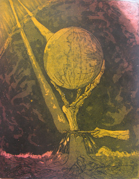 Etching by Vijay Pichumani -  Global Warming  - 2008 - Chennai, India