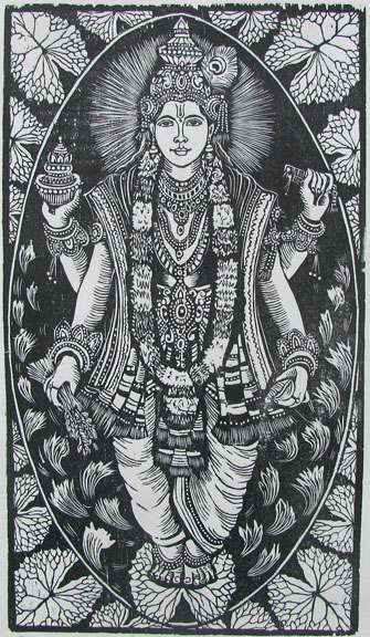 Woodcut by Vijay Pichumani -  Goddess Dhanwantri  - 2008 - Chennai, India
