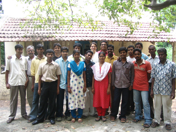 Fulbright to India - 2007 - Printmaking Students at the University of Madras, Government College of Fine Arts - Chennai, and Fulbrighter Marcia Neblett pose for a class photo