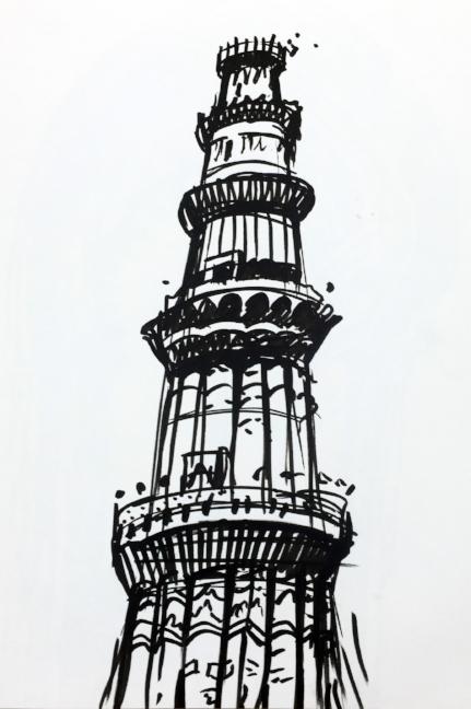 Marcia Neblett Qutub Minar Sketch For Kids