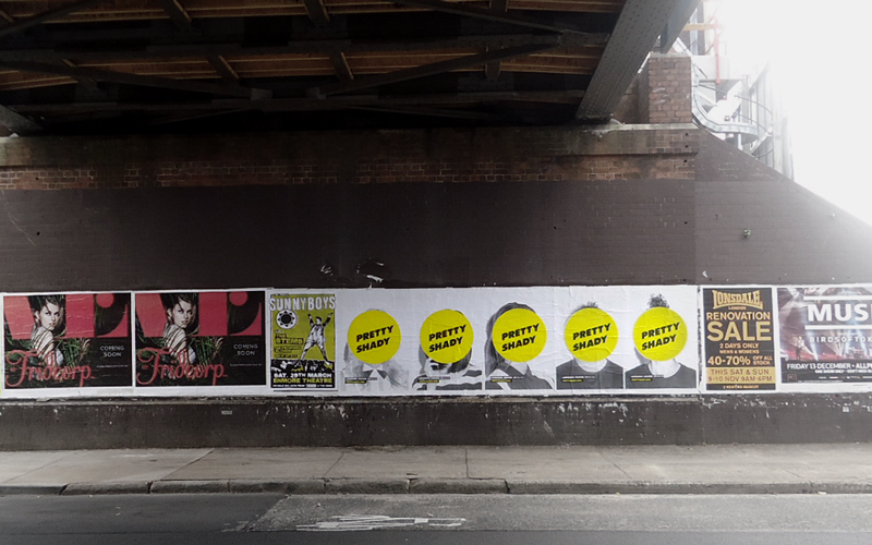 Teaser phase: In the lead up to summer, there were strategically placed street posters everywhere. The posters had a massive Pretty Shady logo covering the faces of the yet to be annouced collaborators, to get people talking. The URL on the posters pointed to a teaser site with a countdown to summer.  -