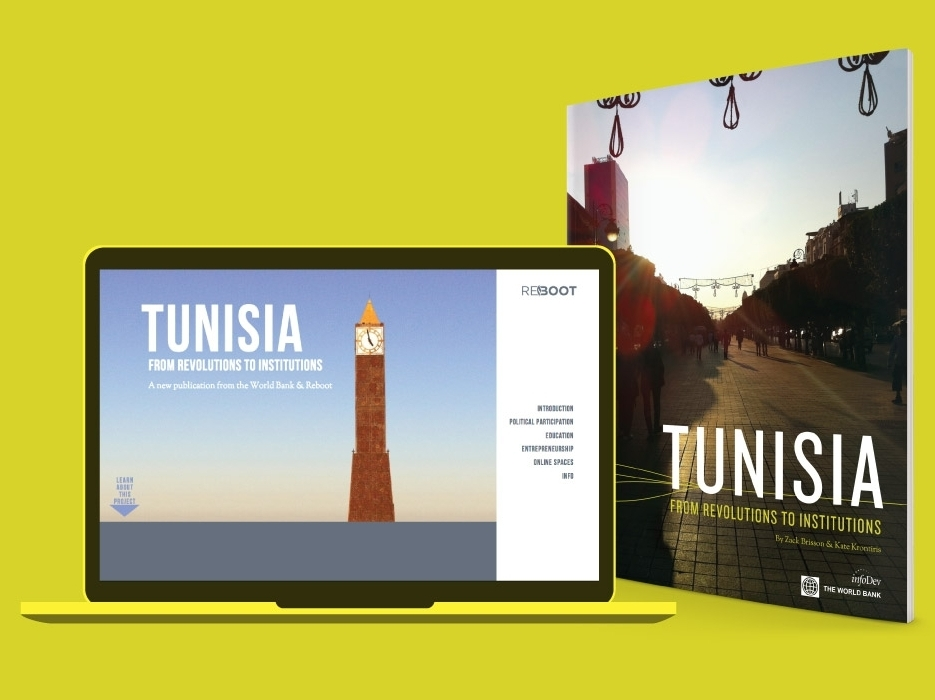 Tunisia: From Revolutions to Institutions  Book and website design, data visualization