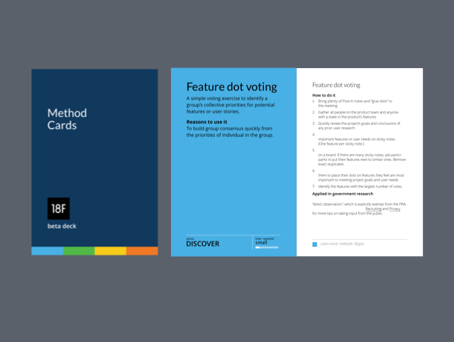 18F Method Cards  Design methods for government