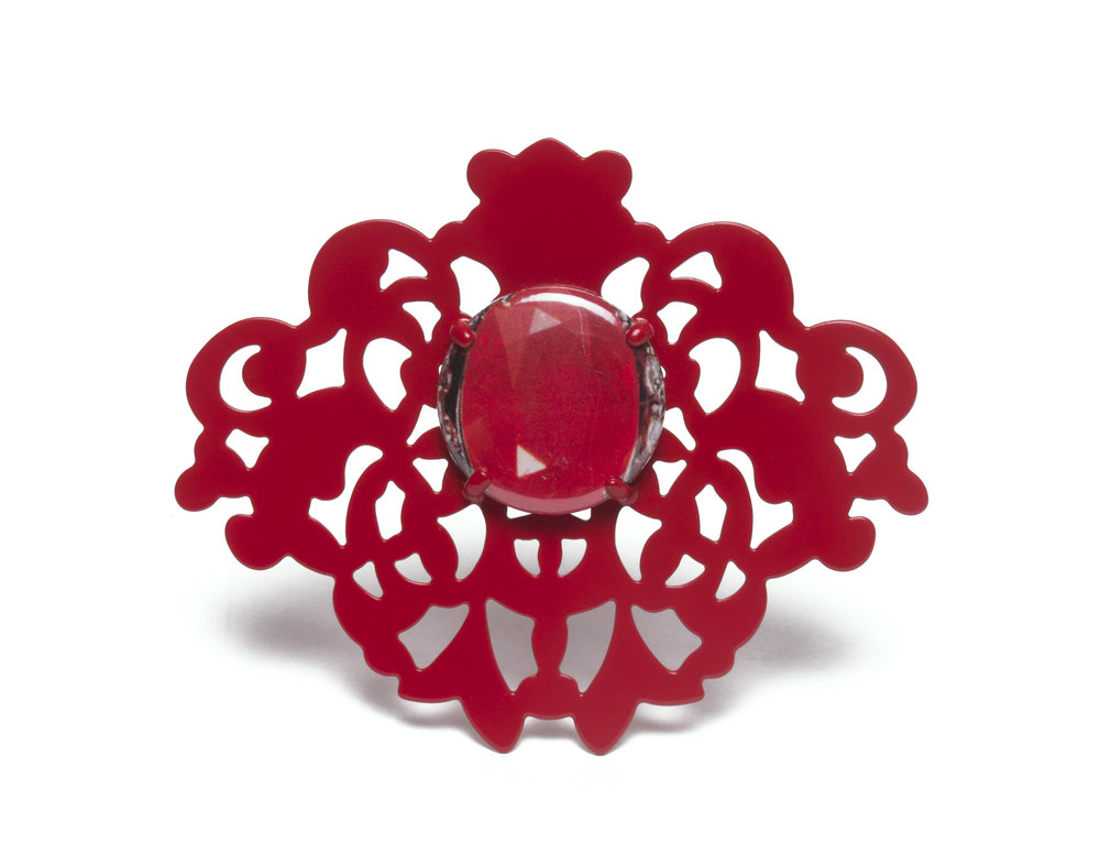 Red on Red Brooch with Gemstone Button