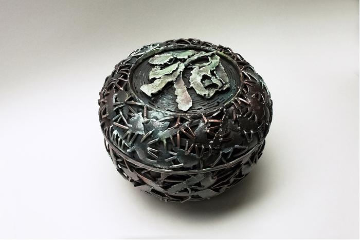 "Taehyun Bang -  Miser's Bowl   7.5"" x 9"" x 9"" Scrap copper, oil paint"