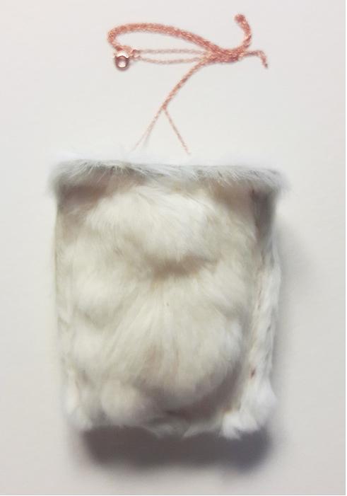 "Katie Netti -  Furry Pocket     2.7""   x 2.3"" x 0.5""    Mouse fur, 14k rose gold chain"