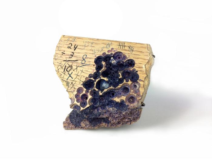 "Jason Thomson -  Dyscalculia     3.2""   x 3.5"" x 0.6""    Wood, sterling silver, ink, steel, moonstone"