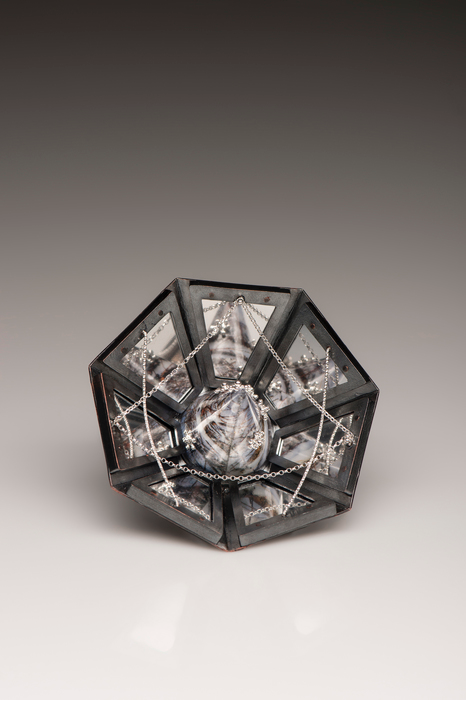 """Xinhao Yang -  Memory of the Hometown     3.5"""" x 3.5"""" x 1.6""""    Silver, copper, acrylic mirror, print image, plastic, pin"""