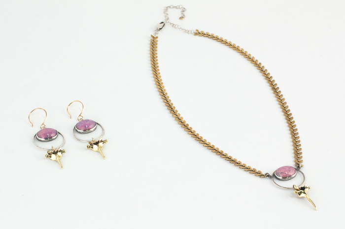 """Anna Young -  Rabbit Vertebrae Earring and Necklace Set     6"""" x 1"""" x 0.25""""    Brass, 1950's vintage glass, sterling silver"""