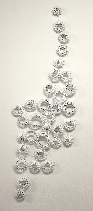"Lenae Zimheld -  4.1.6 Deconstructed     4"" x 4"" x 4""    Dental floss picks, copper rivets"