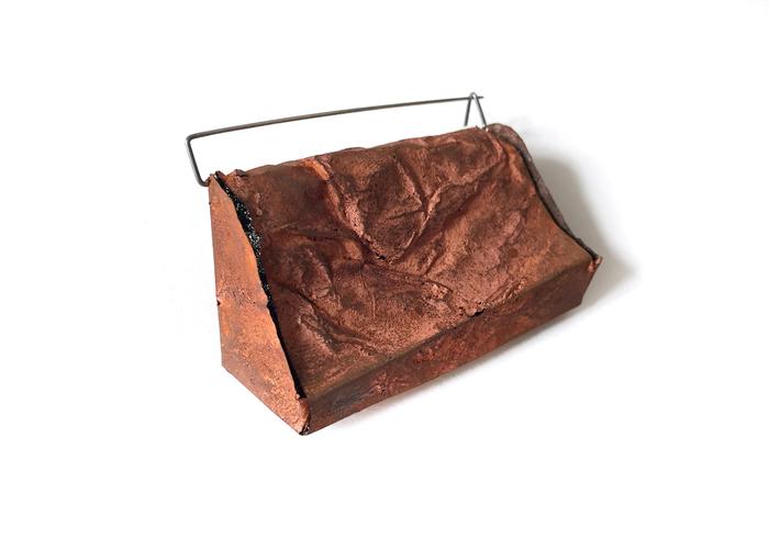 "Kathleen Janvier      Panchina,  2018 Electroformed Copper, Steel 2"" x 2"" x 1"" $300.00"