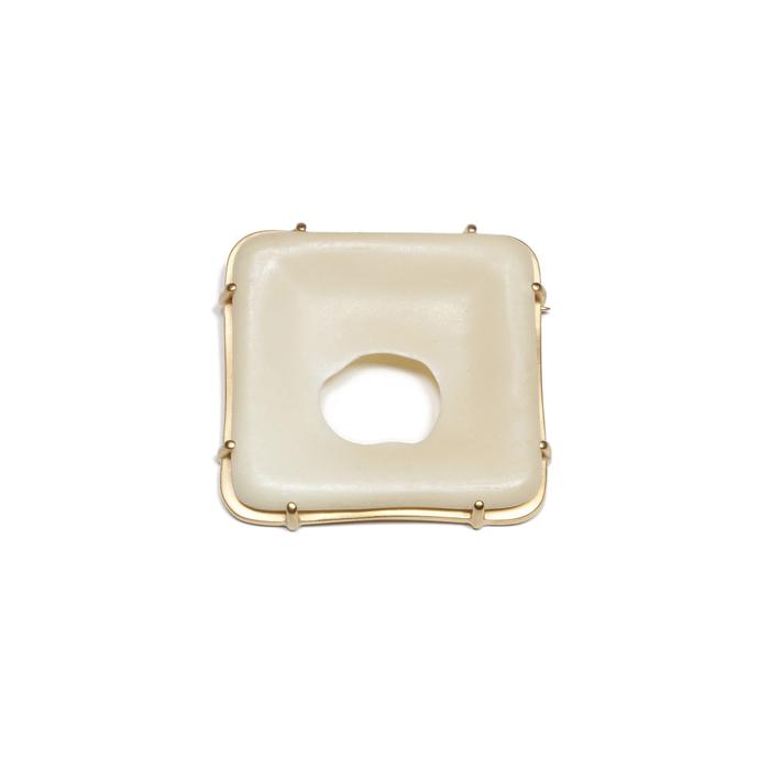 "Joshua Kosker      Ruin,  2018 soap, 24K gold plated brass, 18K and 14K gold 1.75"" x 1.75"" x 0.25"" $1200.00"