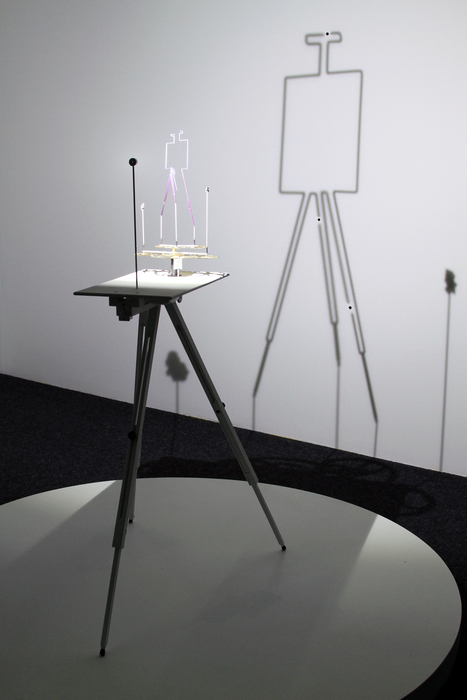 """Kirk Lang      Constellation 8 (Pictor Major)  Mixed metals, custom electronics and drawing easel 60"""" x 36"""" x 36"""" $4800.00"""