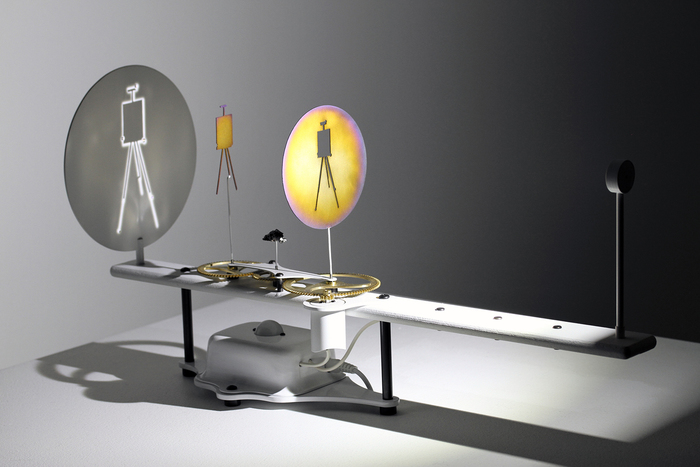 """Kirk Lang      Constellation 9 (Pictor Minor)  Mixed metals, custom electronics and drawing easel  12"""" x 32"""" x 6"""" $3200.00"""