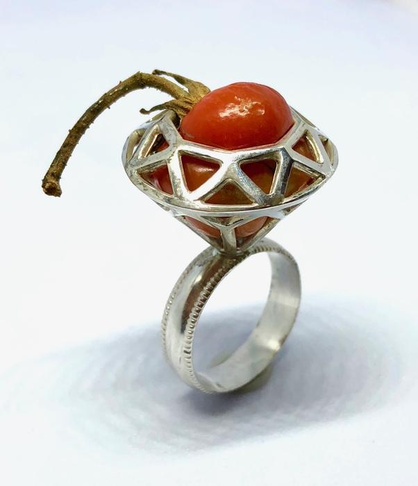 "Carolyn Tillie      Tomato Ring,  2018 Sterling silver, fresh cherry tomato 1.75"" x 1"" x 1"" $250.00"