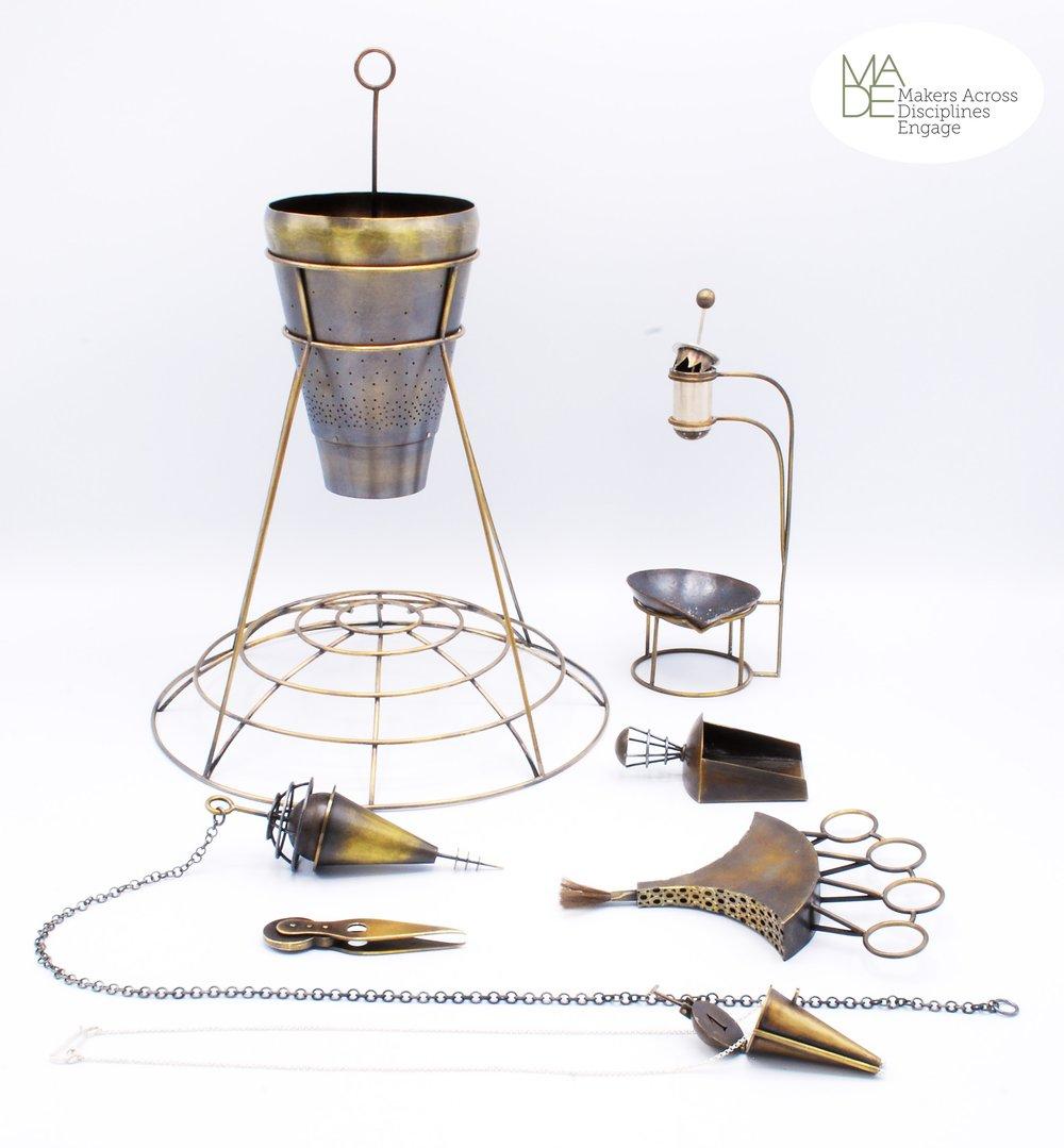 """Laurel Fulton - Internment Kit  12"""" x 20"""" x 20""""  Brass, copper, sterling silver, steel"""