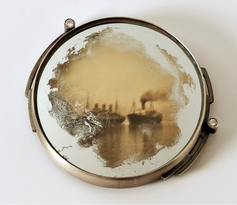 "Retrospective: Passage , 2018 sterling, distressed mirror, vintage photo, diamonds 2"" x 2.25"" x .25"" Photo credit: Balfour Walker   $1200.00"