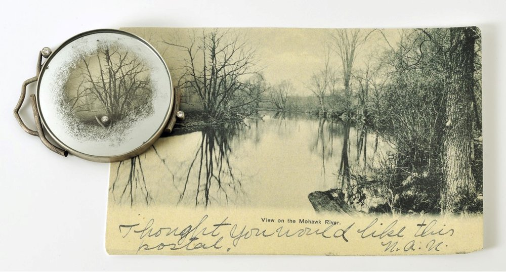 "Retrospective: Mohawk River , 2018     sterling, distressed mirror, vintage postcard, diamonds 3.5"" x 6.25"" x .25"" Photo credit: Balfour Walker $1200.00"
