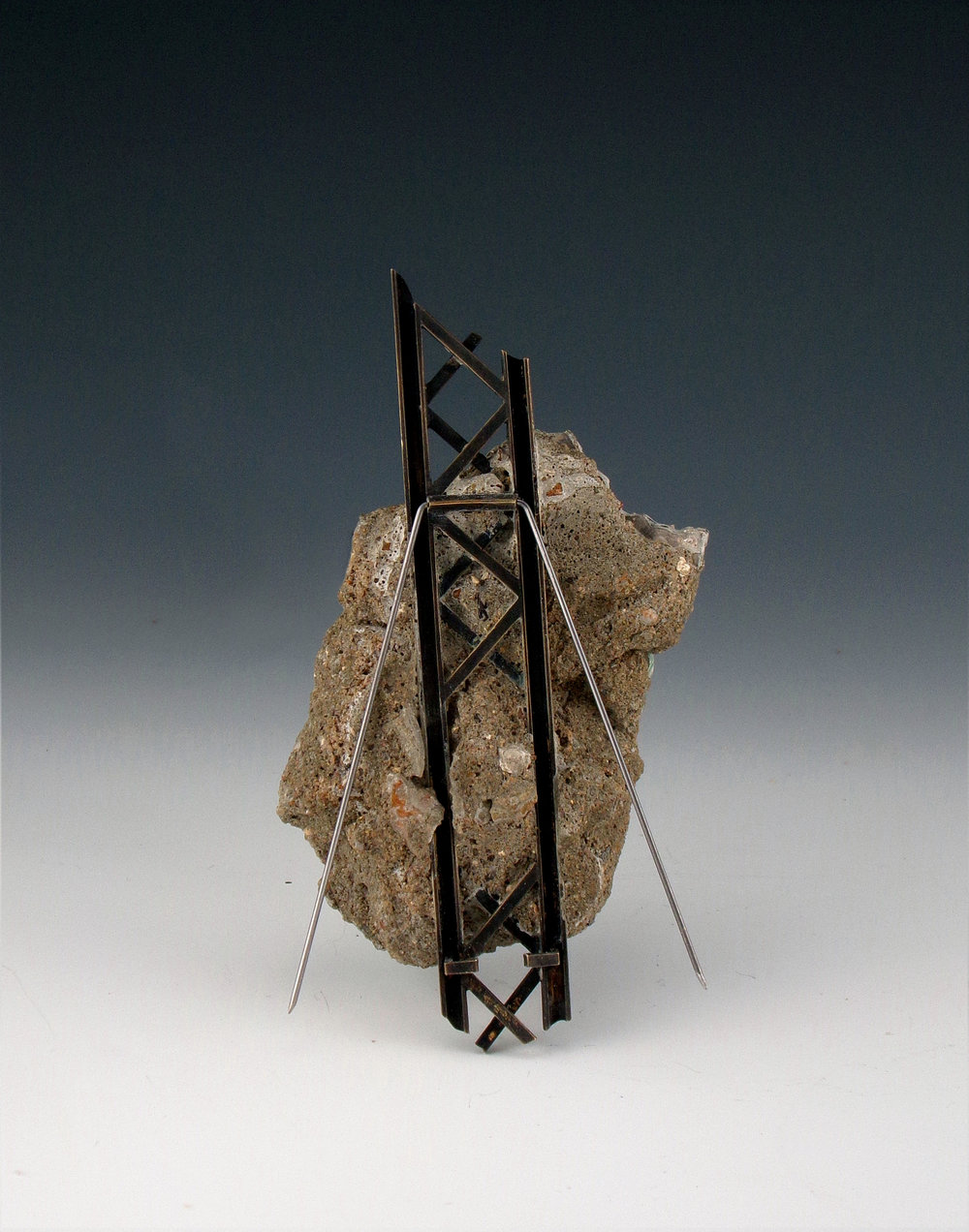 "Fragments #1 , 2018 silver, brass, cast cement, champlevé enamel, steel pins 3.5"" x 2"" x .75"" Photo credit: Aimee Howard-Clinger $4500.00"
