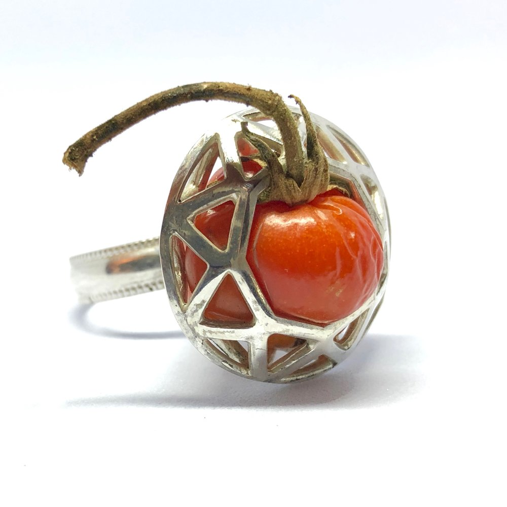 "Collaborative work with  Nick Engel   Tomato Ring,  2018 (detail) sterling silver, fresh cherry tomato 1.75"" x 1"" x 1"" $250.00"