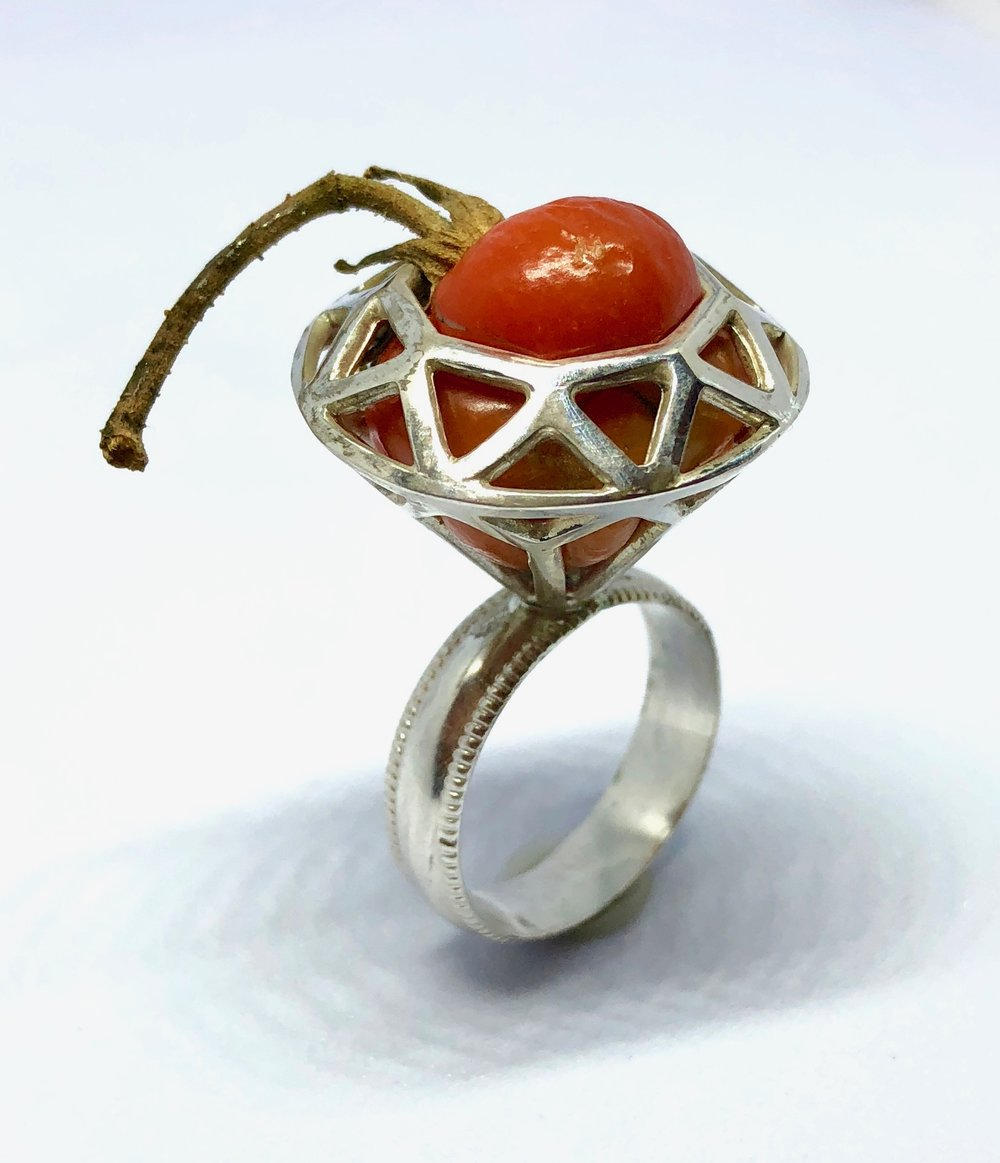 "Collaborative work with  Nick Engel   Tomato Ring,  2018 sterling silver, fresh cherry tomato 1.75"" x 1"" x 1"" $250.00"