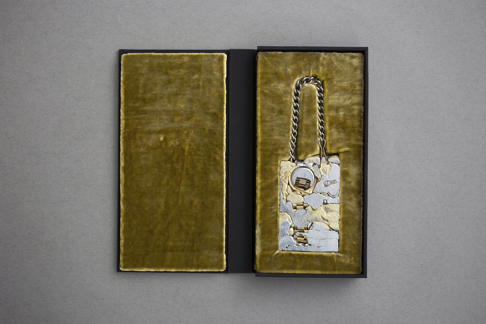 "Inheritance (Nick),  2018 reconstituted jewelry, velvet, board 11.75"" x 7"" x 1.5"" $0.00"