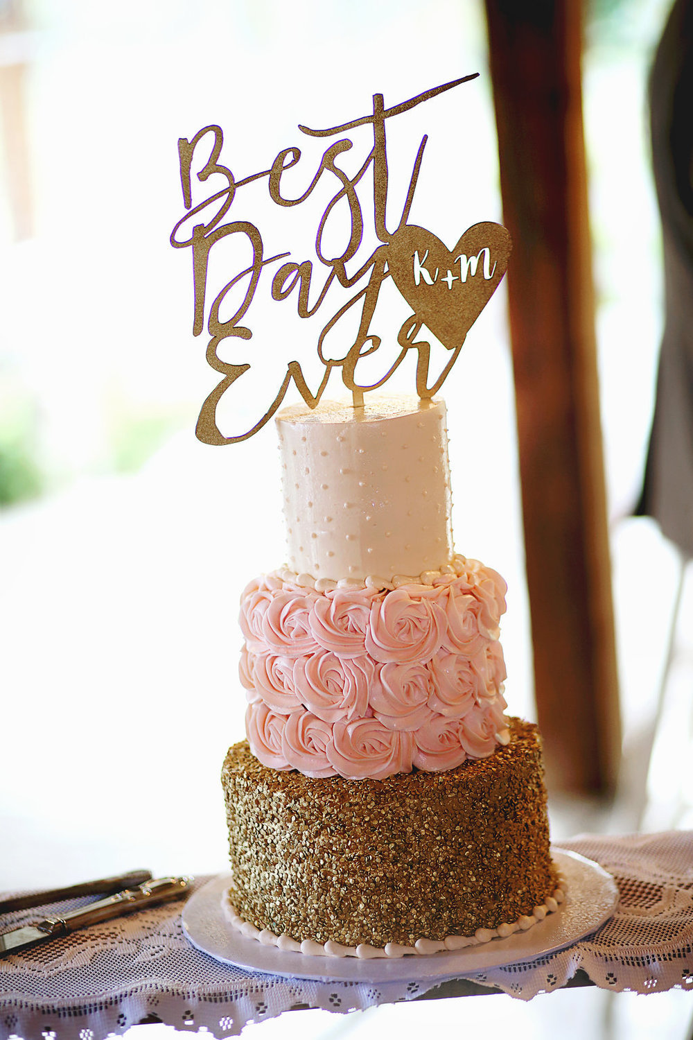 Pink and Gold Cake | Velours Designs | Redding, CA | Katelyn Parra Photography