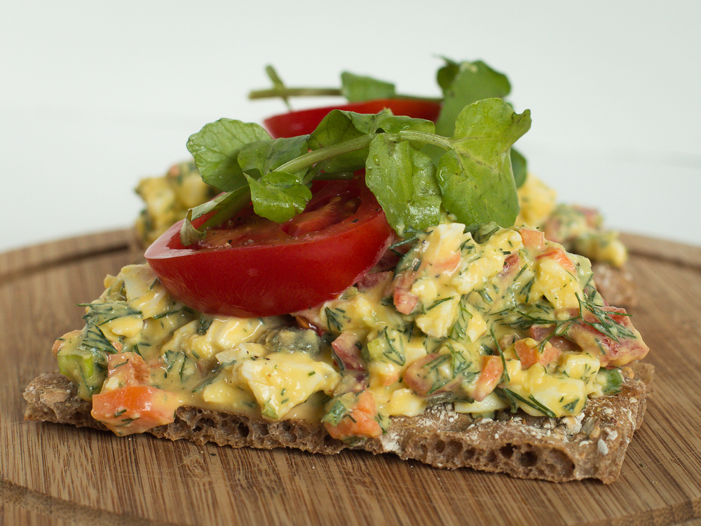 Egg Salad on Rye Cracker
