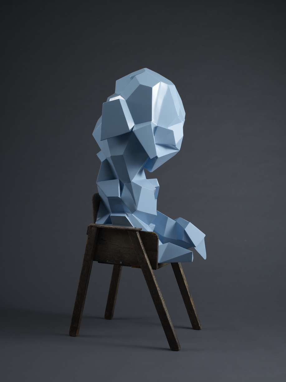 "The Crystalline Baby (Fletcher) – 2009 – 48 x 20 x 15 – Fabricated Steel and Found Chair - <a href=""mailto:judbergeron@mac.com?subject=Inquire: The Crystalline Baby (Fletcher)"">Inquire</a>"