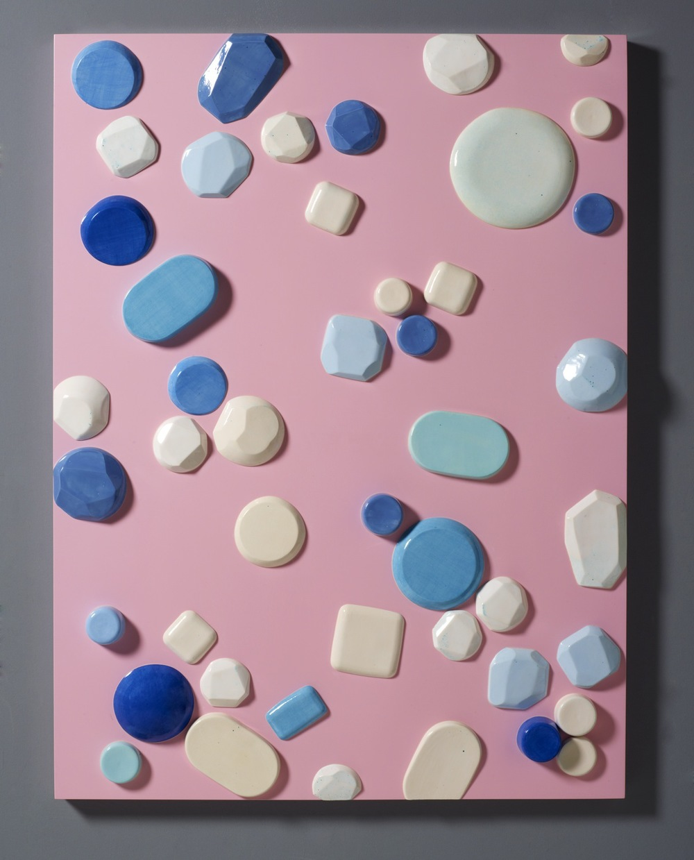 "Candy Series #2 – 2012 – High Fired Ceramics on Automotive Finished Panel – 48 x 36 <a href=""mailto:judbergeron@mac.com?subject=Inquire: Candy Series #2 – 2012"">Inquire</a>"