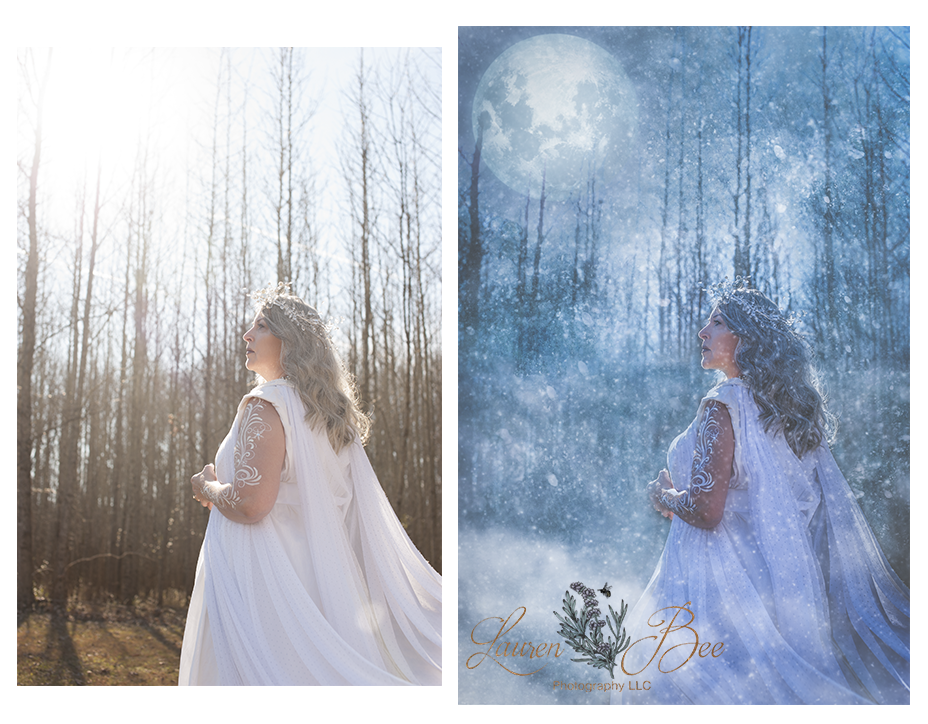 SOOC on the left;  final Lightroom + Photo Shop edit on the right