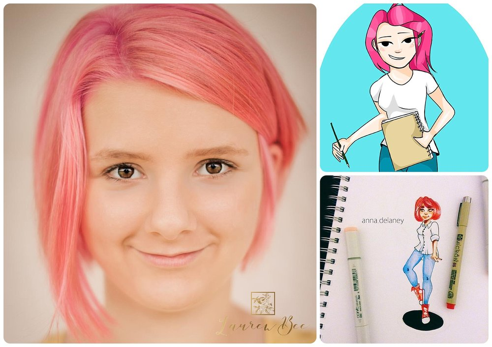 Anna and two of her self-portraits, digital (top right) and hand drawn (bottom right)