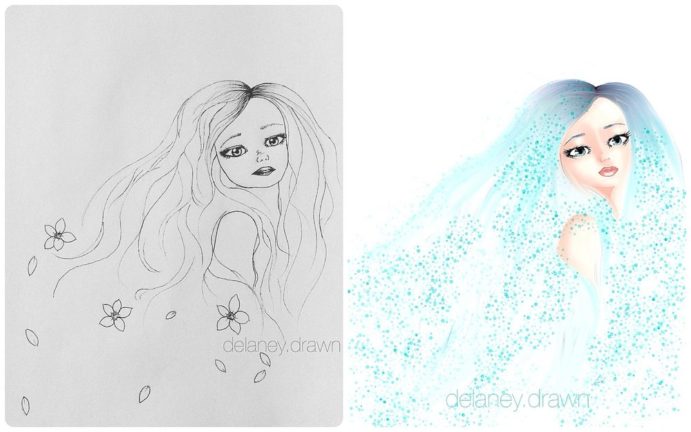 rough sketch (left) and the finished digital image (right)