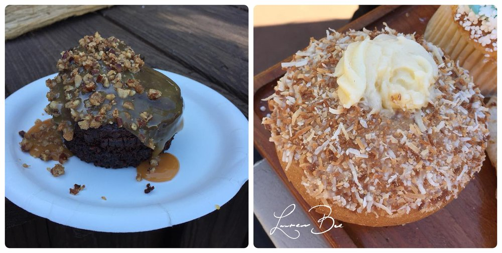 Left: Chocolate cake with Bourbon caramel and candied walnuts (America);  Right: Norway's Skool Bread, an Epcot classic with toasted coconut, atop a cream-filled cardamom bun!