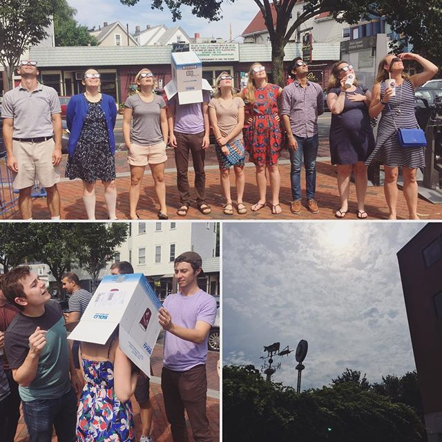 The one time it is okay to put a box over your coworkers head - maybe as software developers we should always be this concerned about damaging our eye site #eclipse #eclipse2017 #eclipseglasses