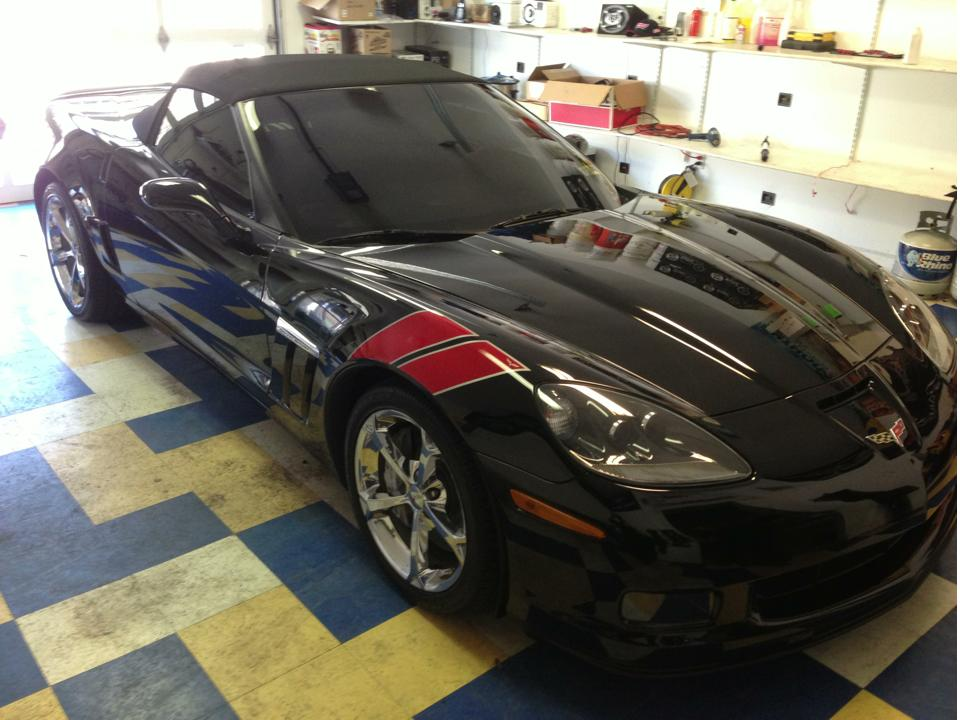Corvette Gran Sport completely tinted including the windshield.